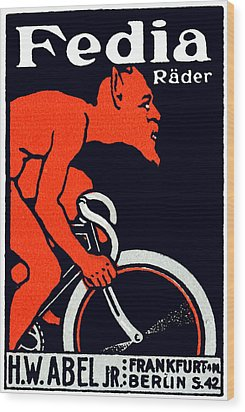 1920 Devil Riding A Bicycle Wood Print by Historic Image