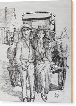 1920s Couple Wood Print