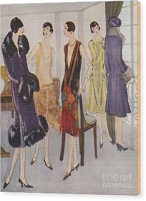 1920s Fashion  1925 1920s Uk Womens Wood Print by The Advertising Archives