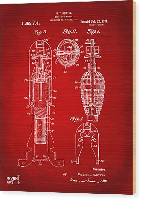 1921 Explosive Missle Patent Red Wood Print by Nikki Marie Smith