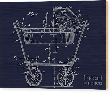 1922 Baby Carriage Patent Art Blueprint Wood Print by Lesa Fine