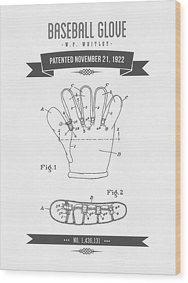 1922 Baseball Glove Patent Drawing Wood Print by Aged Pixel
