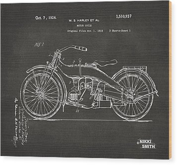 1924 Harley Motorcycle Patent Artwork - Gray Wood Print by Nikki Marie Smith