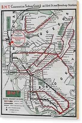 1924 Map Brooklyn Manhattan Transit Wood Print