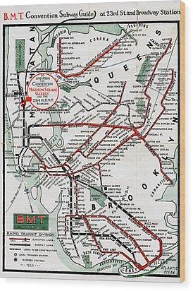 1924 Map Brooklyn Manhattan Transit Wood Print by BMT Lines