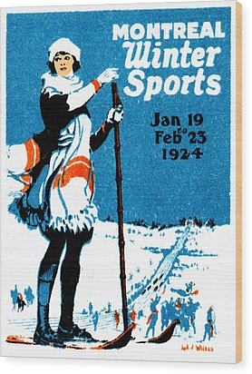 1924 Montreal Winter Sports Poster Wood Print by Historic Image