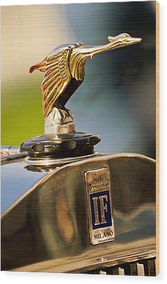 1925 Isotta Fraschini Tipo 8a S Corsica Boattail Speedster Hood Ornament Wood Print by Jill Reger