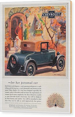 1927 - Chevrolet Advertisement - Color Wood Print