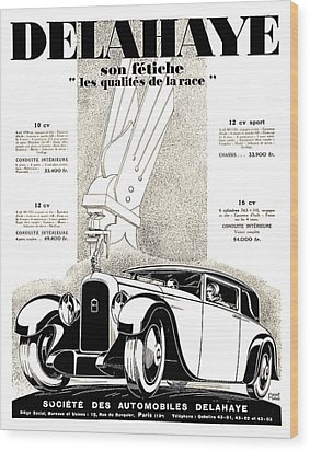 1928 - Delehaye Automobile Advertisement Wood Print