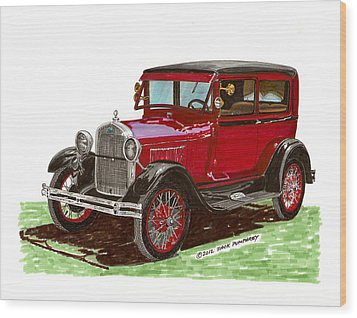 1928 Ford Model A Two Door Wood Print by Jack Pumphrey