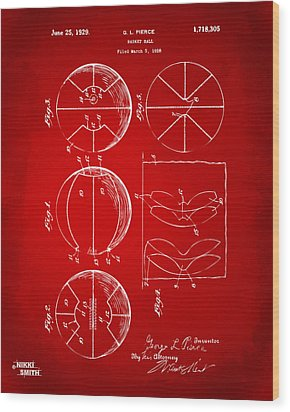 1929 Basketball Patent Artwork - Red Wood Print by Nikki Marie Smith