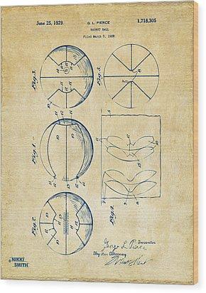 1929 Basketball Patent Artwork - Vintage Wood Print by Nikki Marie Smith