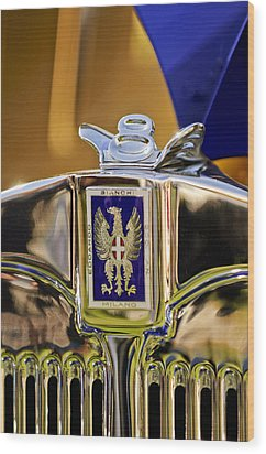 1929 Bianchi S8 Graber Cabriolet Hood Ornament And Emblem Wood Print by Jill Reger