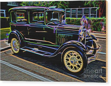 1929 Ford Model A - Antique Car Wood Print by Gary Whitton