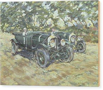 1929 Le Mans Winning Bentleys Wood Print by Clive Metcalfe