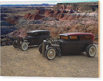 1930 And 1931 Ford Sedan Rat Rods Wood Print by Tim McCullough
