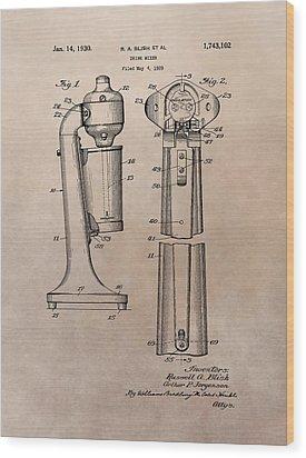 1930 Drink Mixer Patent Wood Print