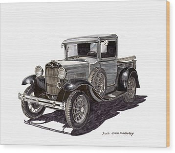 1930 Ford Model A Pick Up Wood Print by Jack Pumphrey