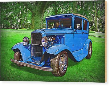 Wood Print featuring the digital art 1930 Ford by Richard Farrington