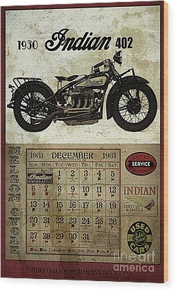 1930 Indian 402 Wood Print by Cinema Photography