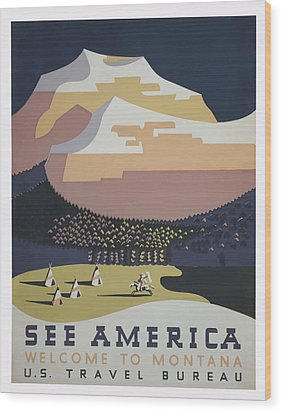 Wood Print featuring the painting 1930 See America by American Classic Art