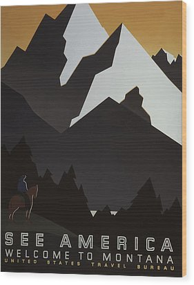 Wood Print featuring the painting 1930's See America by American Classic Art