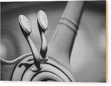 1931 Lincoln K Steering Wheel - Spark - Gas Controls -1865bw Wood Print by Jill Reger