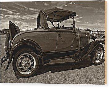 1931 Model T Ford Monochrome Wood Print by Steve Harrington
