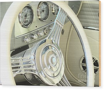 1932 Cabriolet Hupmobile Steering Wood Print by Margaret Newcomb