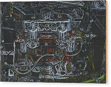 1932 Frazer Nash Tt Engine Detail Digital Art Wood Print by John Colley