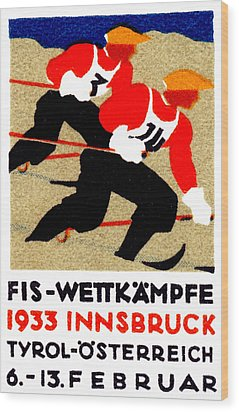 1933 Austrian Ski Race Poster Wood Print by Historic Image