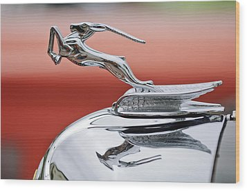 1933 Chrysler Cl Imperial Custom Dual Windshield Phaeton Hood Ornament Wood Print by Jill Reger