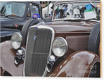 1934 Ford 6 Wheel Equip Front End Wood Print by Kaye Menner
