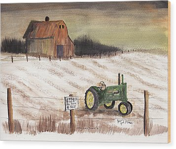 1934 John Deere Model A For Sale Wood Print by Jack G  Brauer