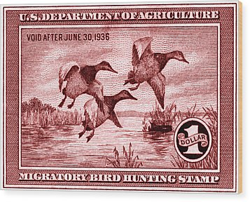1935 American Bird Hunting Stamp Wood Print by Historic Image
