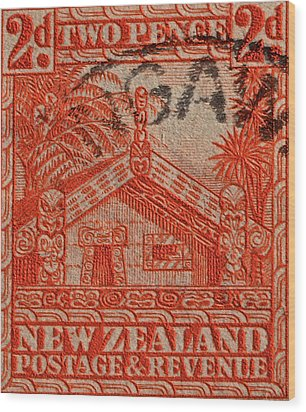 1935 Carved Maori House New Zealand Stamp Wood Print by Bill Owen