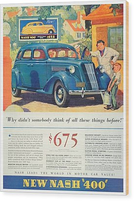 1936 - Nash Sedan Automobile Advertisement - Color Wood Print