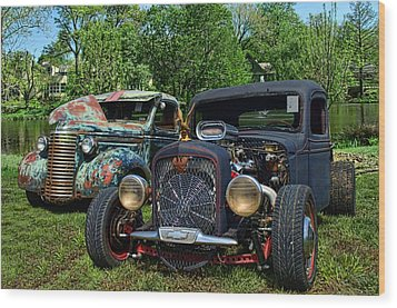 1936 Chevrolet And 1939 Chevrolet Rat Rod Pickups Wood Print by Tim McCullough