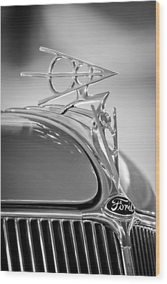 1936 Ford Deluxe Roadster Hood Ornament 2 Wood Print by Jill Reger