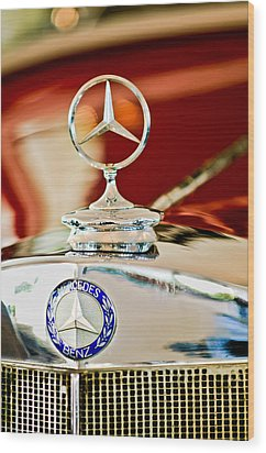 1937 Mercedes-benz Cabriolet Hood Ornament Wood Print by Jill Reger