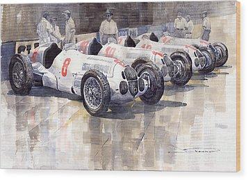 1937 Monaco Gp Team Mercedes Benz W125 Wood Print by Yuriy  Shevchuk