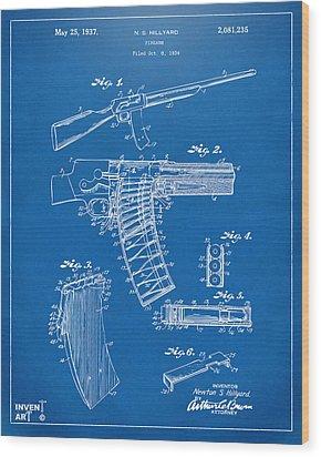 1937 Police Remington Model 8 Magazine Patent Artwork - Blueprin Wood Print by Nikki Marie Smith