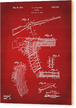 1937 Police Remington Model 8 Magazine Patent Artwork - Red Wood Print by Nikki Marie Smith