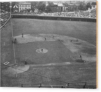 1937 Wrigley Field Scoreboard Wood Print by Retro Images Archive