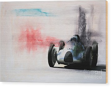 1938 Auto Union Type D Wood Print by Roger Lighterness
