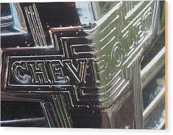 1938 Chevrolet Sedan Emblem Wood Print