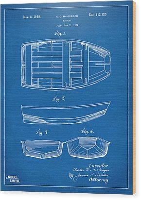 1938 Rowboat Patent Artwork - Blueprint Wood Print by Nikki Marie Smith