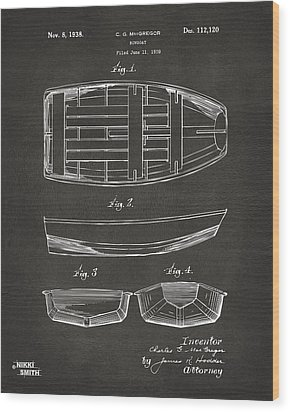 1938 Rowboat Patent Artwork - Gray Wood Print by Nikki Marie Smith