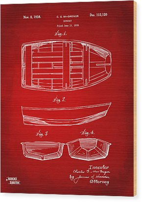 1938 Rowboat Patent Artwork - Red Wood Print by Nikki Marie Smith
