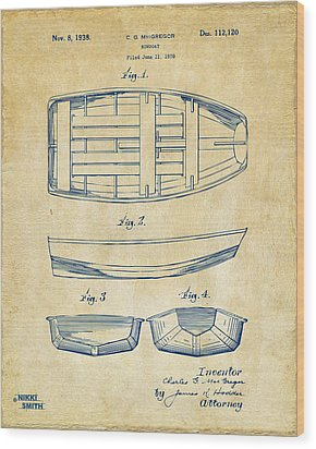 1938 Rowboat Patent Artwork - Vintage Wood Print by Nikki Marie Smith